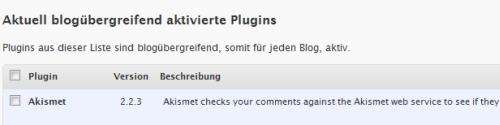Verwaltung der blogübergreifenden Plugins